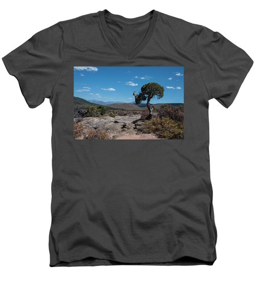 Pinyon Pine With North Rim In Background Black Canyon Of The Gunnison Men's V-Neck T-Shirt