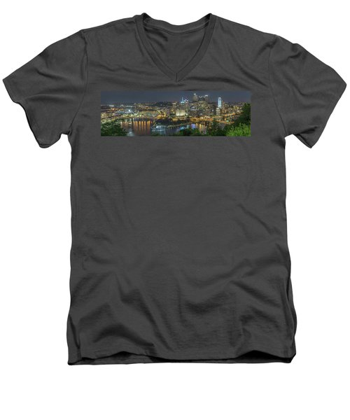 Men's V-Neck T-Shirt featuring the photograph Pittsburgh Lights by David R Robinson