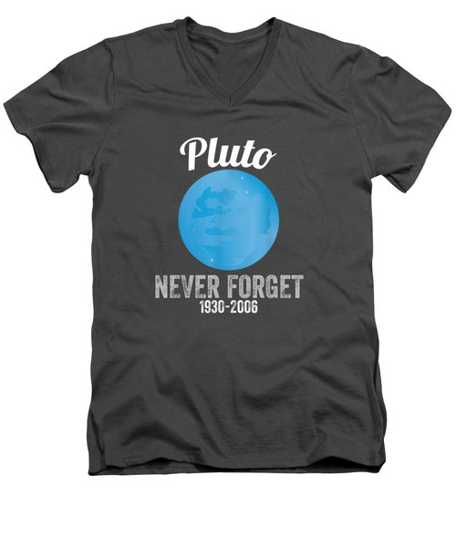 Pluto Never Forget T-shirt Funny Science Geek Nerd Tee Gift Men's V-Neck T-Shirt