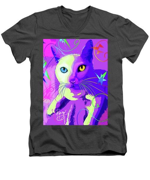 pOp Cat Cotton Men's V-Neck T-Shirt