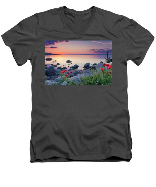 Poppies By The Sea Men's V-Neck T-Shirt