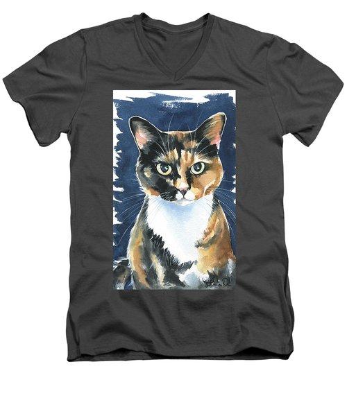 Poppy Calico Cat Painting Men's V-Neck T-Shirt