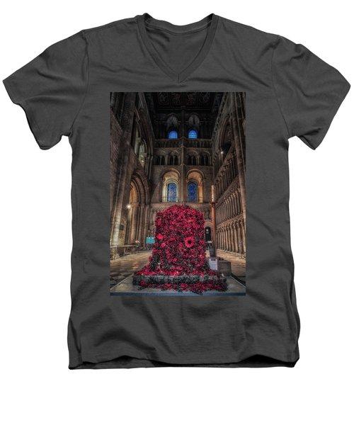 Poppy Display At Ely Cathedral Men's V-Neck T-Shirt