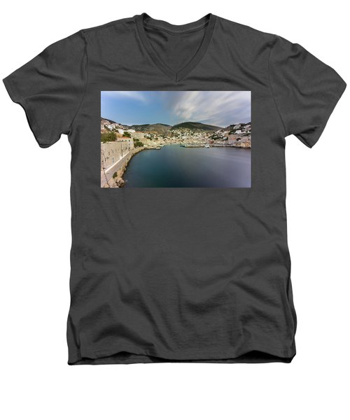 Port At Hydra Island Men's V-Neck T-Shirt