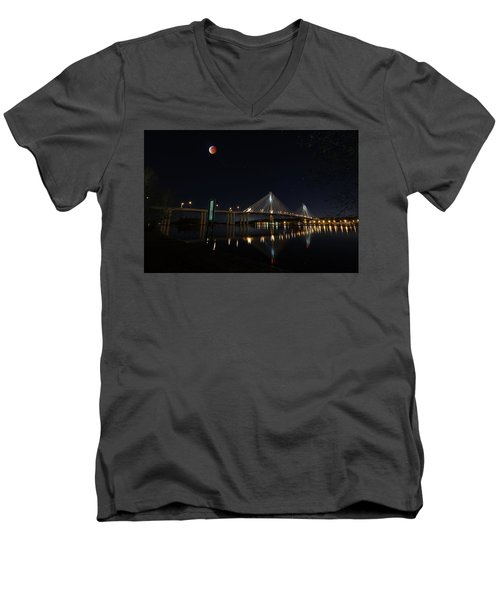 Port Mann Bridge With Blood Moon Men's V-Neck T-Shirt