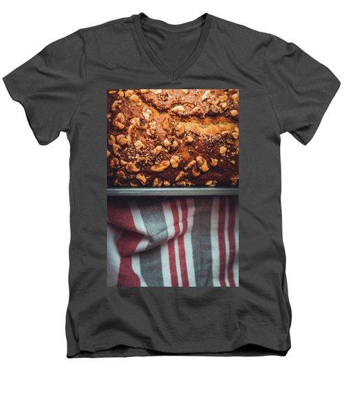 Portion Of Freshly Baked Banana Bread  Men's V-Neck T-Shirt