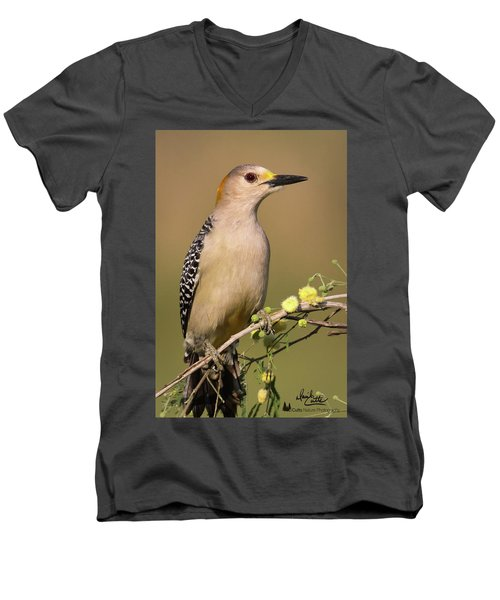 Portrait Of A Golden-fronted Woodpecker Men's V-Neck T-Shirt