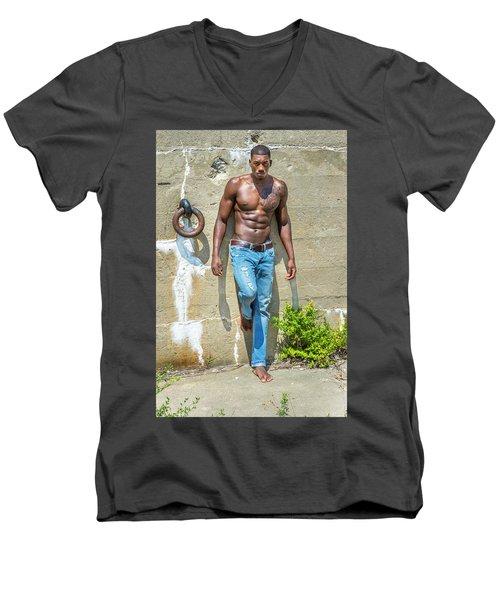 Portrait Of  Young Black Fitness Guy Men's V-Neck T-Shirt