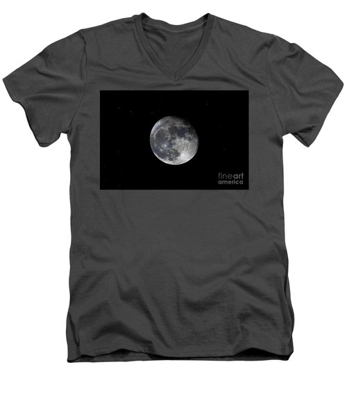 Men's V-Neck T-Shirt featuring the photograph Pre Blood Red Wolf Supermoon Eclipse 873a by Ricardos Creations