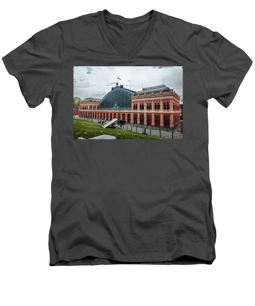 Men's V-Neck T-Shirt featuring the photograph Puerta De Atocha Railway Station by Eduardo Jose Accorinti