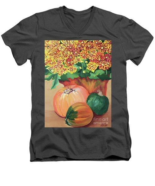 Pumpkin With Flowers Men's V-Neck T-Shirt