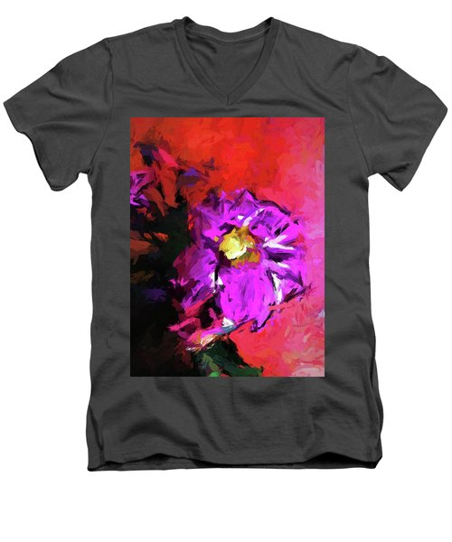 Purple And Yellow Flower And The Red Wall Men's V-Neck T-Shirt