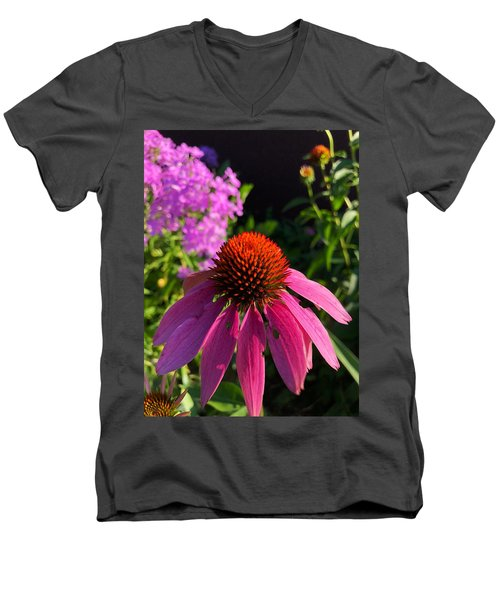 Men's V-Neck T-Shirt featuring the photograph Purple Coneflower by Lukas Miller