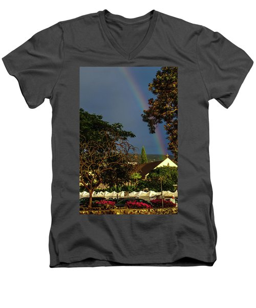 Rainbow Ended At The Church Men's V-Neck T-Shirt