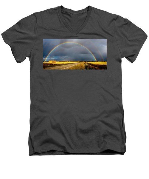 Rainbow Over Crop Land Men's V-Neck T-Shirt