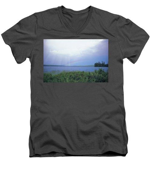 Rainbow Over Raquette Lake Men's V-Neck T-Shirt