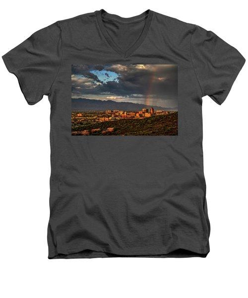 Rainbow Over Tucson Men's V-Neck T-Shirt