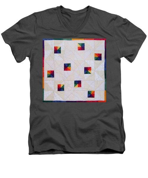Rainbow Pinwheel Men's V-Neck T-Shirt