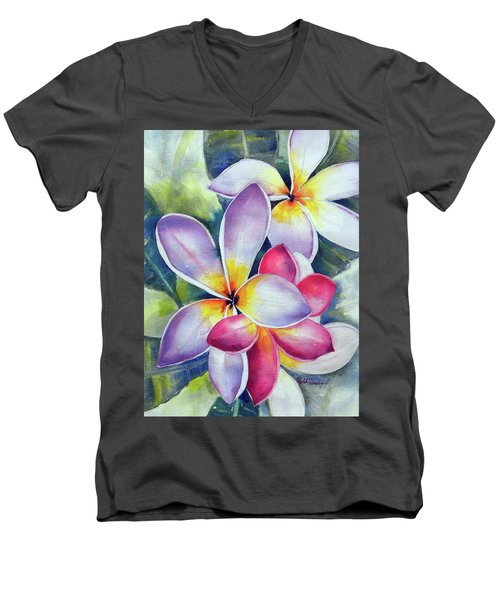 Rainbow Plumerias Men's V-Neck T-Shirt