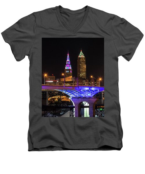 Rainbow Tower In Cleveland Men's V-Neck T-Shirt