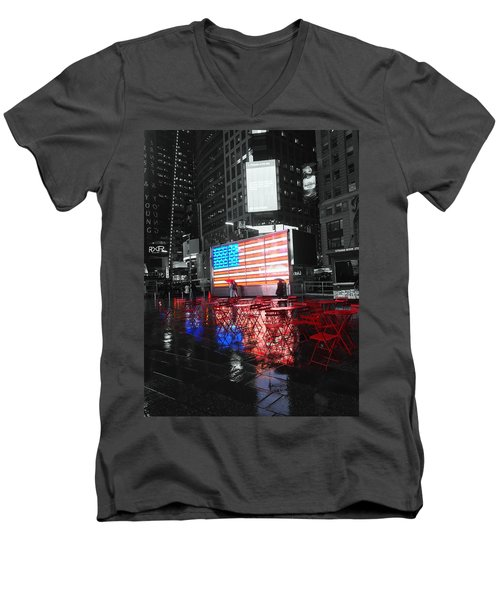Rainy Days In Time Square  Men's V-Neck T-Shirt