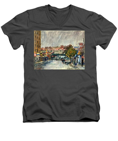 Rainy Morning 231st Street The Bronx Men's V-Neck T-Shirt