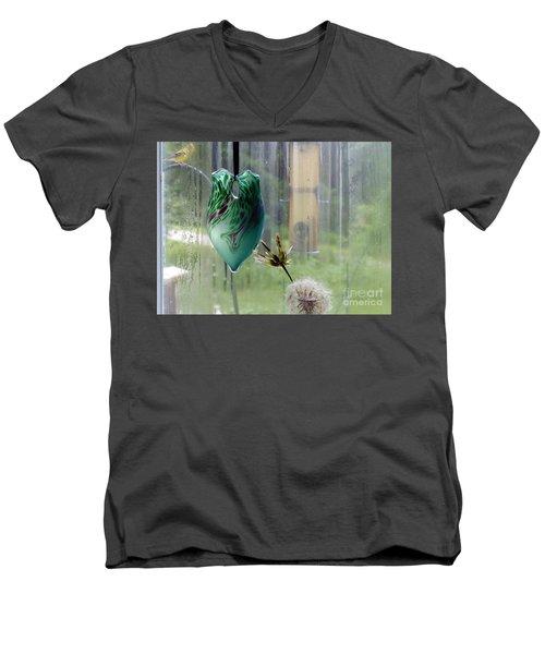 Rainy Morning At The Bird Feeder Men's V-Neck T-Shirt
