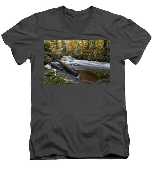 Men's V-Neck T-Shirt featuring the photograph Reaney Falls 10121801 by Rick Veldman