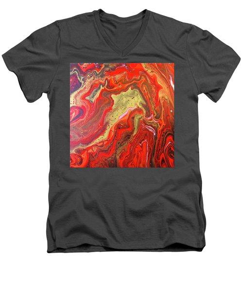 Red And Gold Men's V-Neck T-Shirt