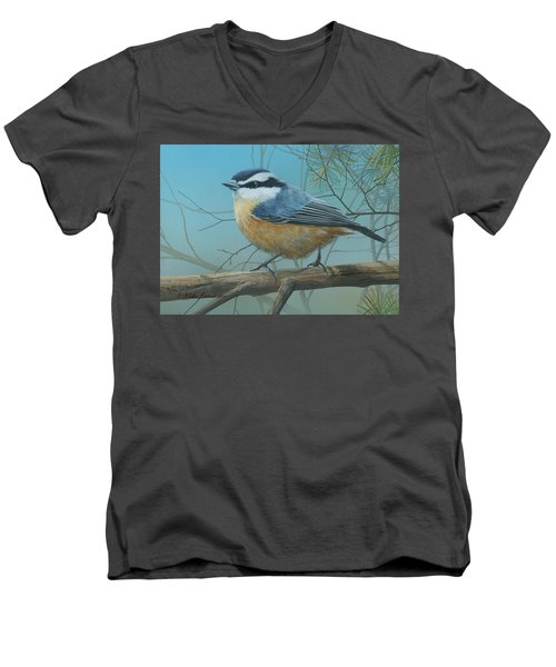 Red Brested Nuthatch Men's V-Neck T-Shirt