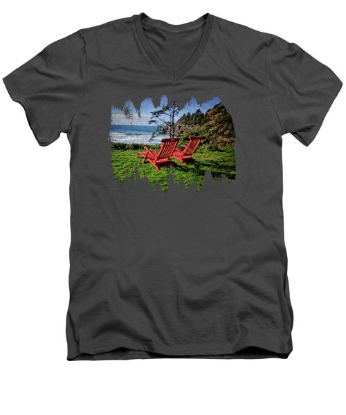 Red Chairs At Agate Beach Men's V-Neck T-Shirt