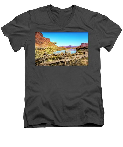 Men's V-Neck T-Shirt featuring the photograph Red Cliffs Canyon by David Morefield