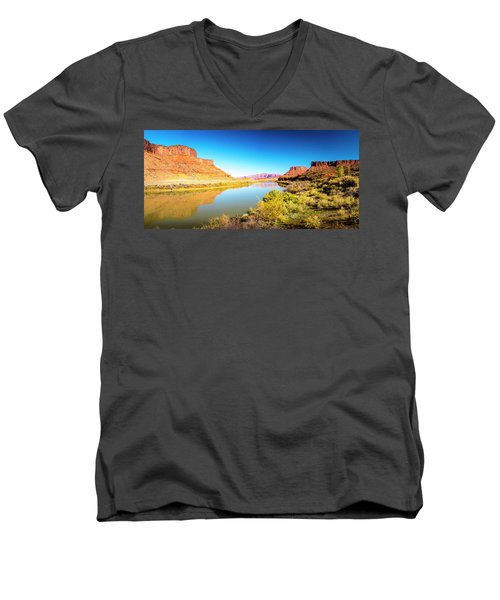 Men's V-Neck T-Shirt featuring the photograph Red Cliffs Canyon Panoramic by David Morefield