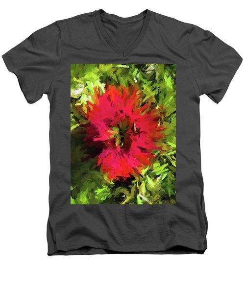 Red Flower Flames Men's V-Neck T-Shirt