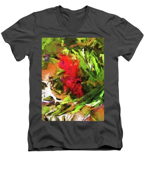 Red Flower On The Branch Men's V-Neck T-Shirt