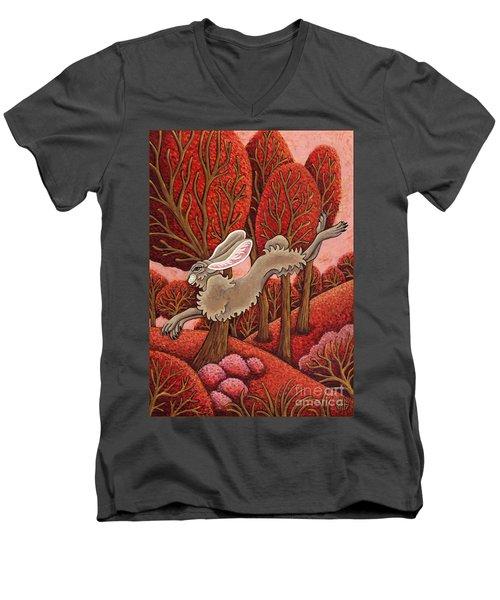 Red Forest Run Men's V-Neck T-Shirt