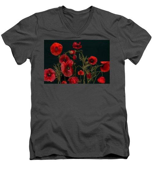 Red Poppies On Black Men's V-Neck T-Shirt