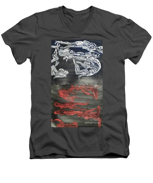 Red Strangles White Cells Men's V-Neck T-Shirt