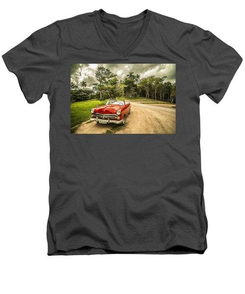 Red Vintage Car Men's V-Neck T-Shirt