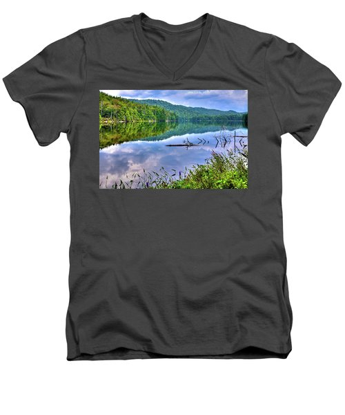 Men's V-Neck T-Shirt featuring the photograph Reflections On Sis Lake by David Patterson
