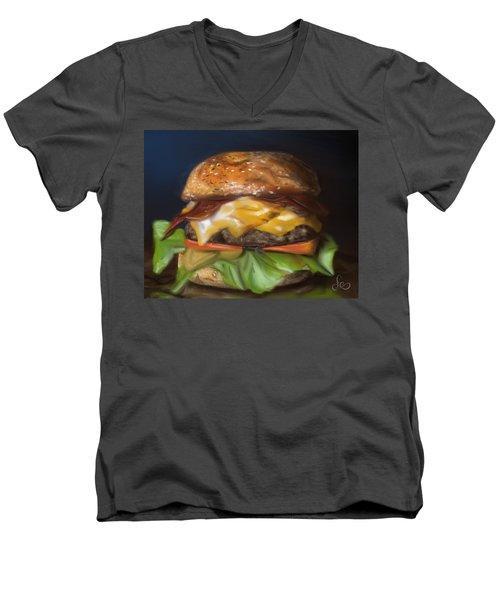 Men's V-Neck T-Shirt featuring the pastel Renaissance Burger  by Fe Jones