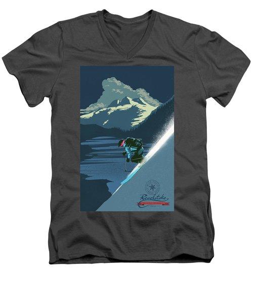 Retro Revelstoke Ski Poster Men's V-Neck T-Shirt