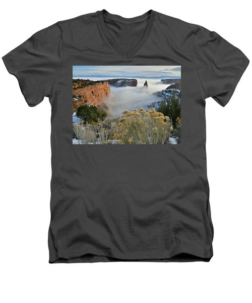 Rim Rock Drive View Of Fogged Independence Canyon Men's V-Neck T-Shirt