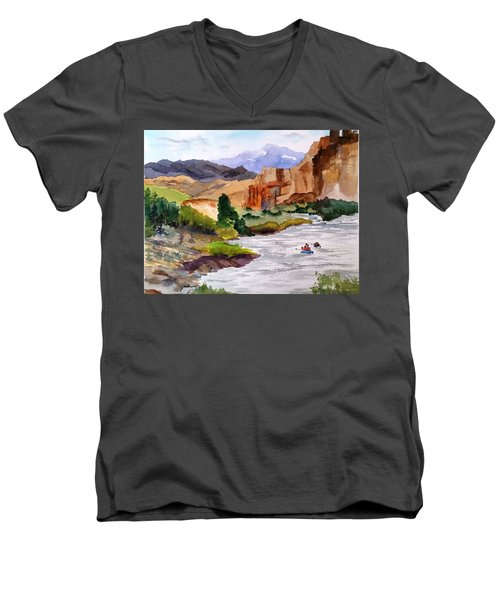 River Rafting In Montana Men's V-Neck T-Shirt