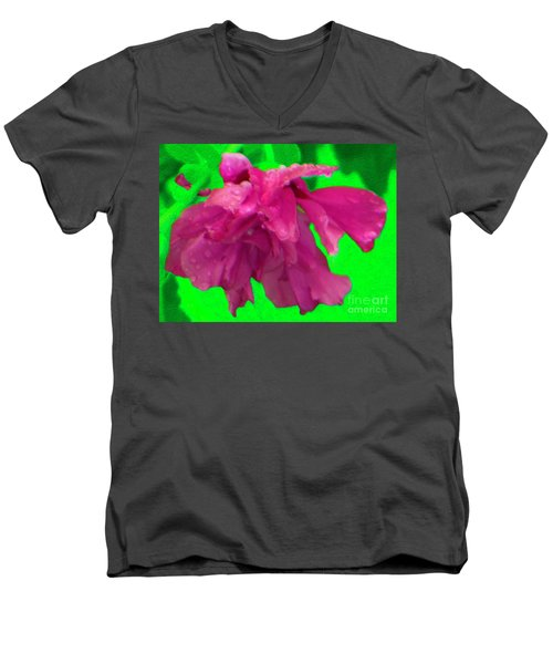 Men's V-Neck T-Shirt featuring the photograph Rose Of Sharon Rain Drops by Rockin Docks