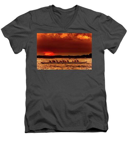 Rowing In The Sunset Men's V-Neck T-Shirt