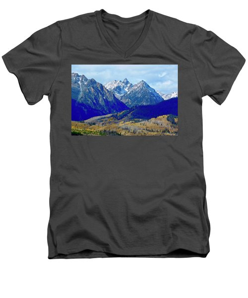 Men's V-Neck T-Shirt featuring the photograph Rugged Peaks by Dan Miller