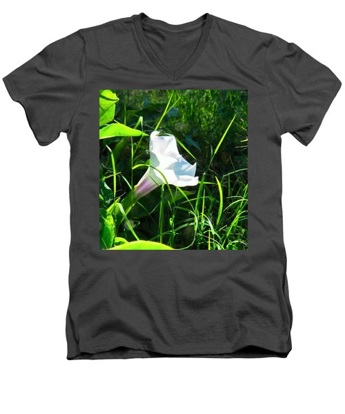Men's V-Neck T-Shirt featuring the photograph Sacred Datura - Fairy Flower by Judy Kennedy