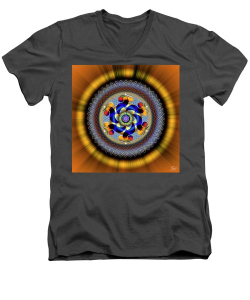 Sacred Geometry 740 Number 1 Men's V-Neck T-Shirt
