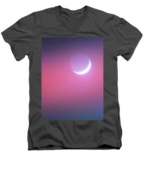 Men's V-Neck T-Shirt featuring the photograph Sagitarrius Waxing Moon 2 by Judy Kennedy